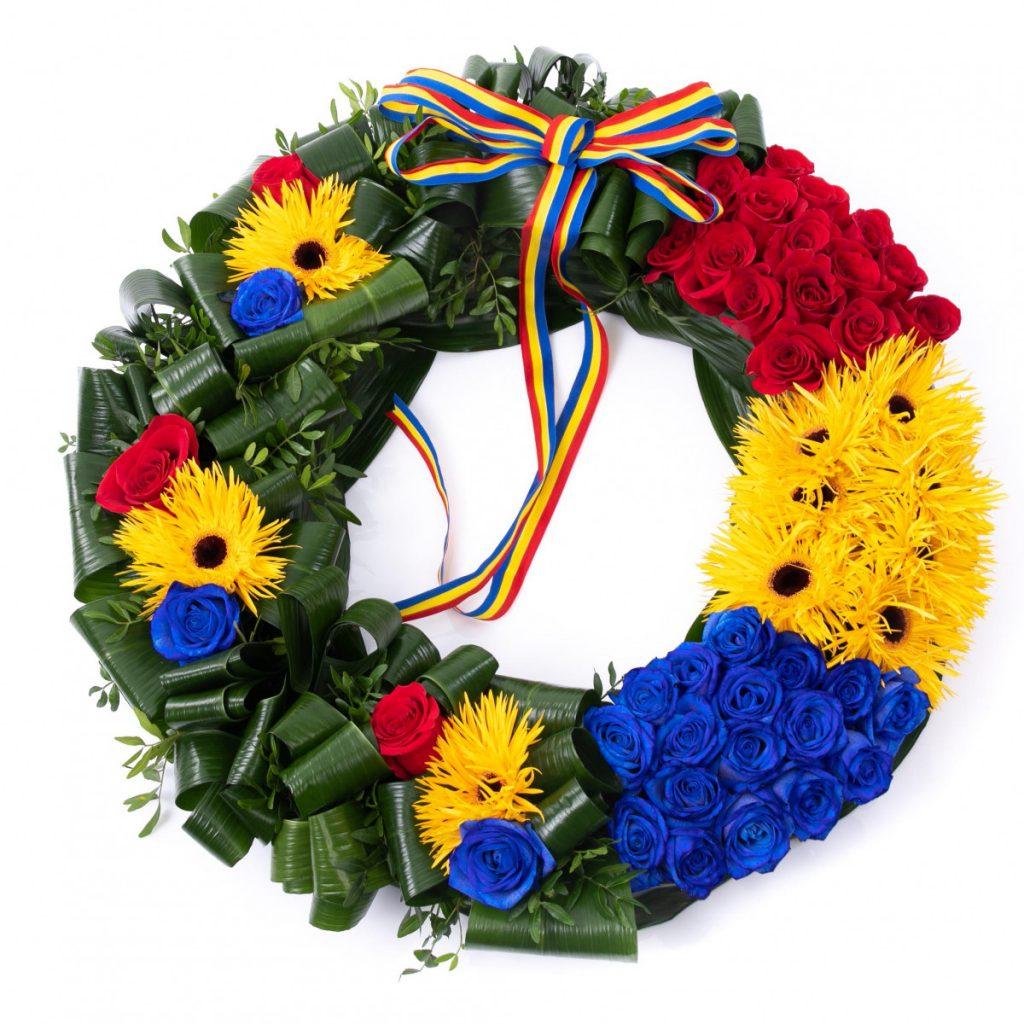 La multi ani tuturor romanilor!, Coroana funerara tricolor, doar 539.99 RON!