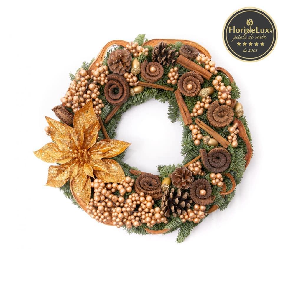 Coroniță de Crăciun decorațiuni aurii, doar 239,99 RON!