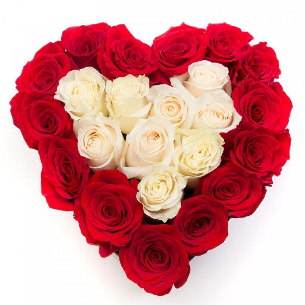 *Mesaje de ziua îndrăgostiților la distanță, Cutie inimă trandafiri roșii și albi, doar 339,99 RON!