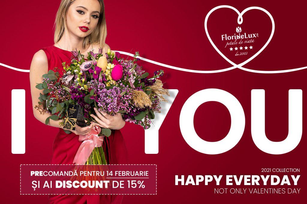 Descoperă noua noastră colecție pentru îndragostiți. Comandă acum, folosește codul de reducere VDAY și ai discount 15% la florile ei preferate.