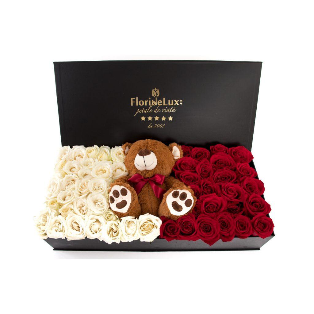 Ghid supraviețuire Ziua Îndrăgostiților pentru bărbați, Cutie de lux Teddy Love, doar 879 RON!