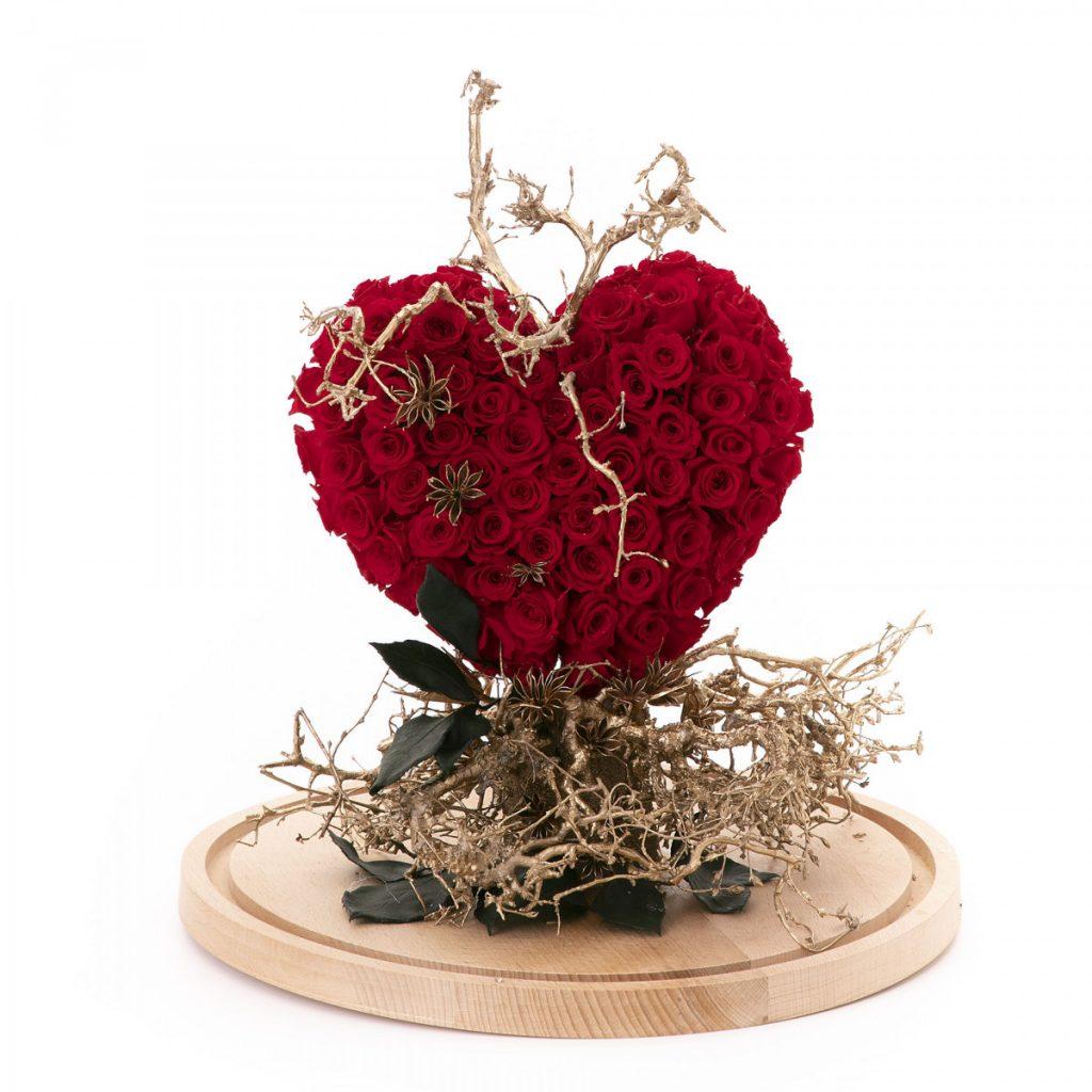 Flori Ziua Îndrăgostiților - oferte 2021, Inimă trandafiri criogenați în cupolă