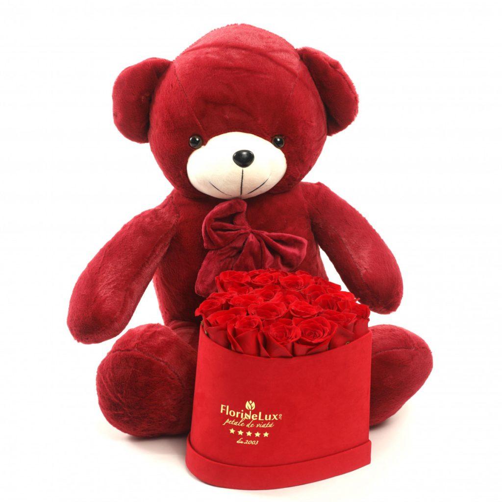 Set cutie inimă cu trandafiri și ursuleț catifelat