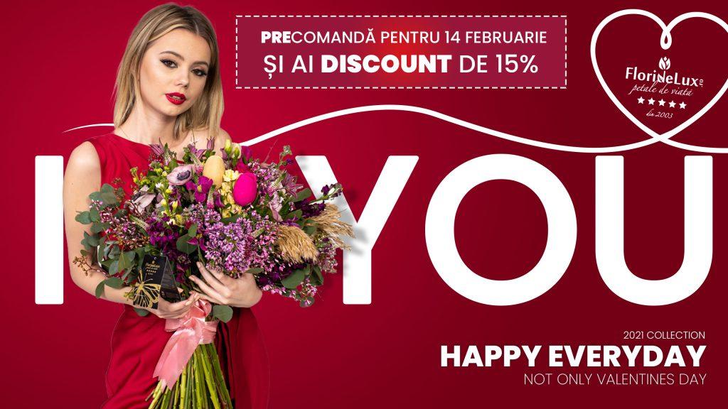 Precomandă pentru 14 Februarie și ai discount de 15% la florile preferatei ale iubitei tale!