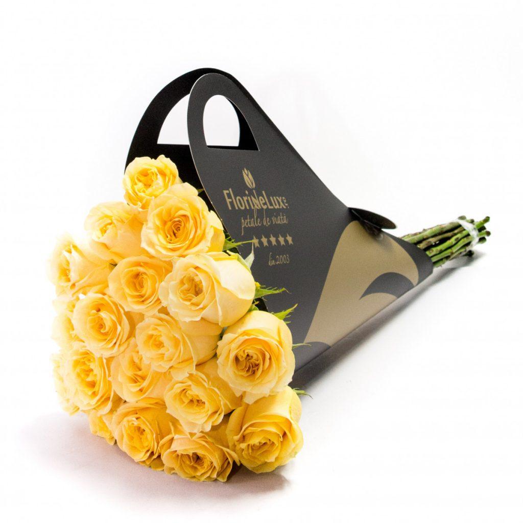 Trandafiri galbeni de lux, doar 299,99 RON!