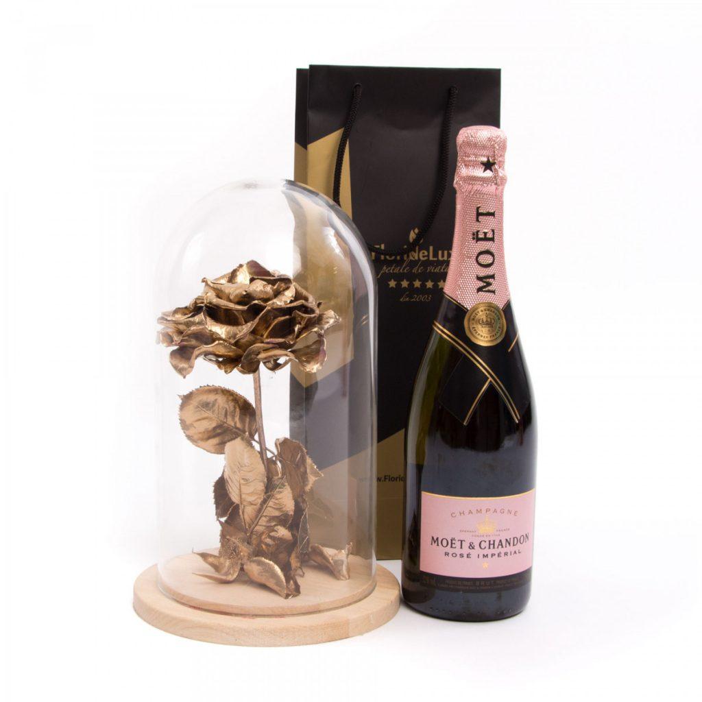 Trandafir criogenat Amour L'Or și șampanie de lux, doar 765,99 RON!