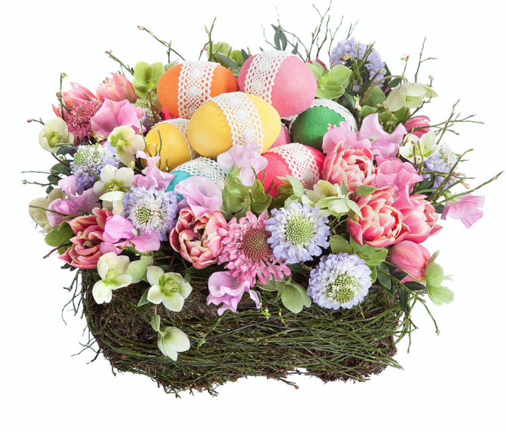Coș crizanteme colorate și ouă de Paște, doar 240,99 RON!