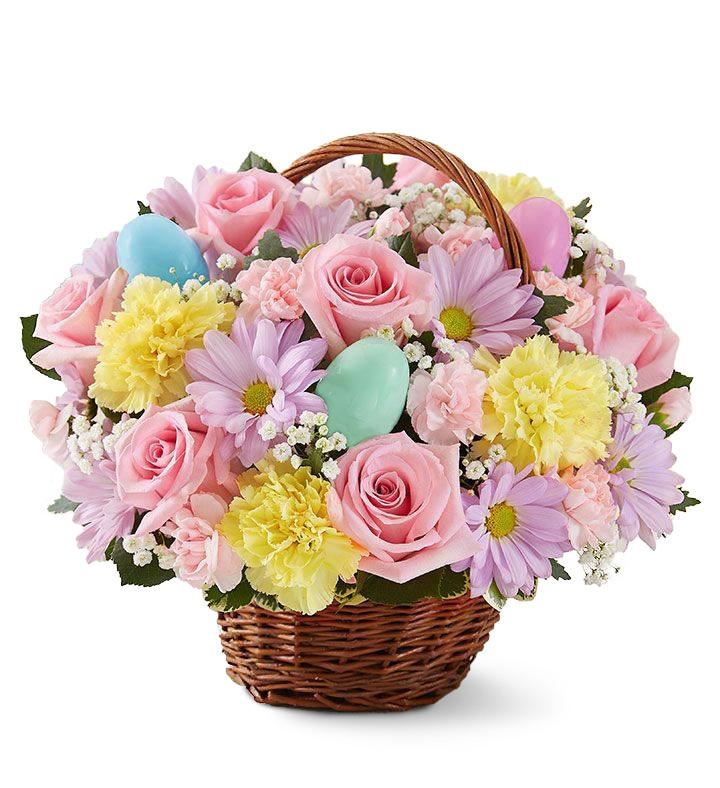 Cadouri pentru Paștele Catolic, Un coș floral surpriză de Paște, doar 169,99 RON!