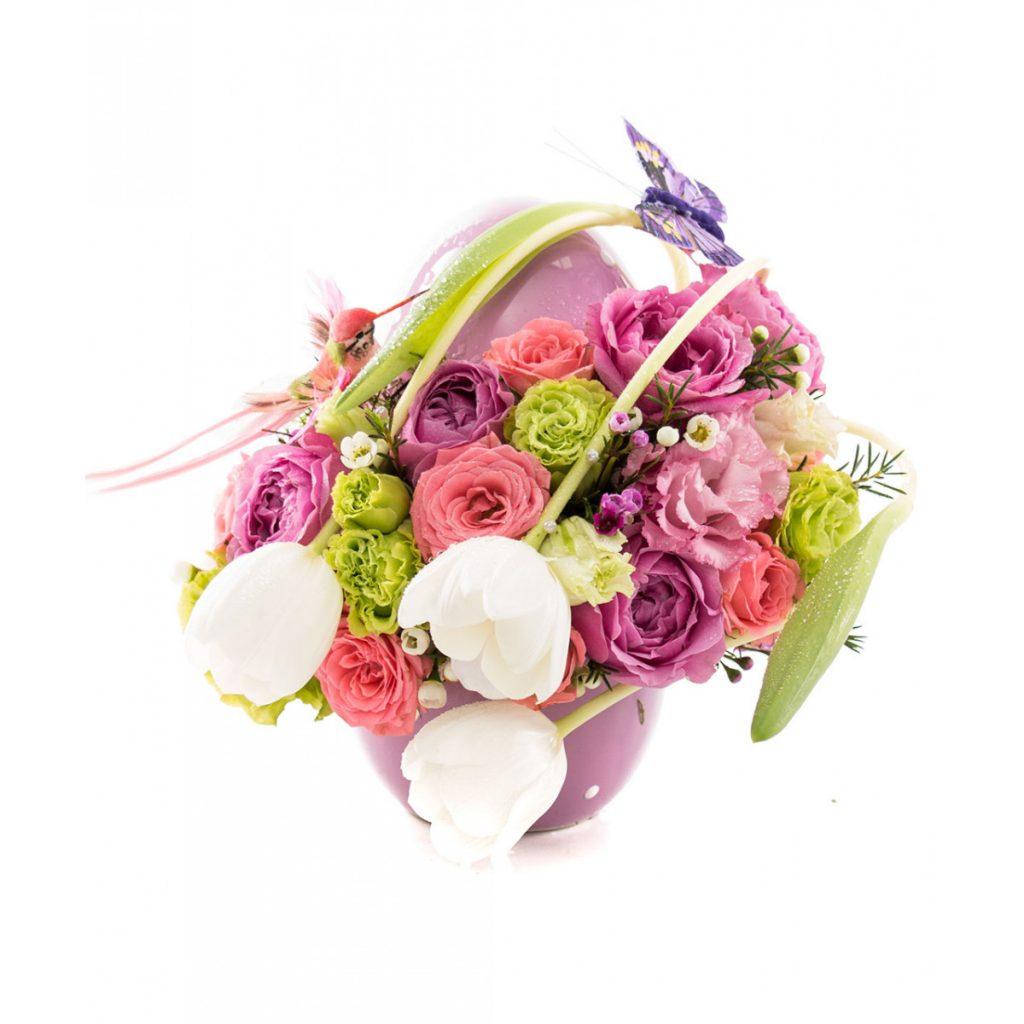 Cadouri pentru Paștele Catolic, Ou ceramică plin cu flori de primavară, doar 169,99 RON!