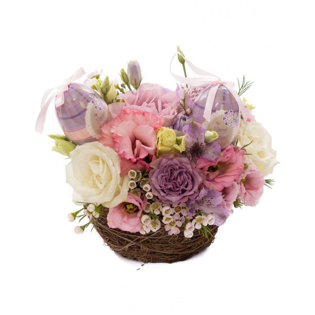 Cadouri pentru Paștele Catolic, Coșuleț flori mov și ouă de Paște, doar 185,99 RON!