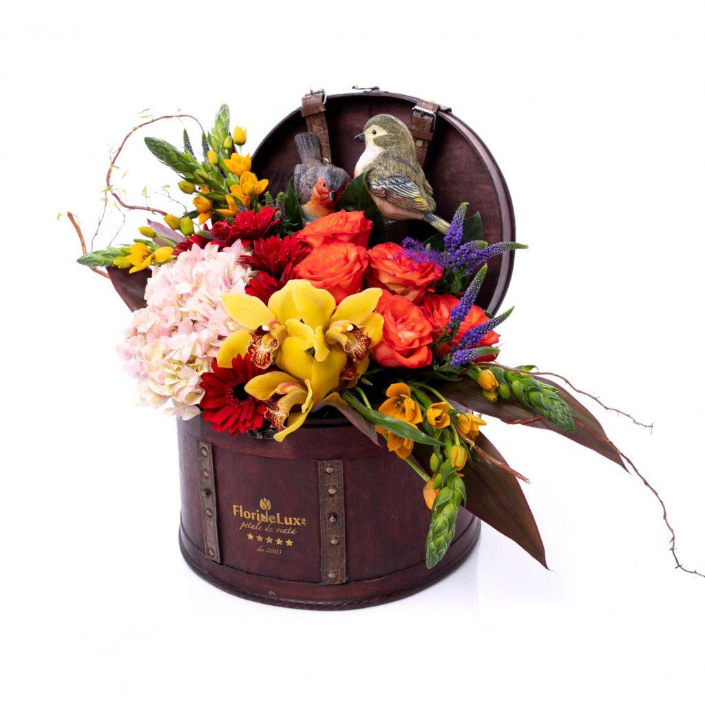 Florărie Alba-Iulia, Cufăr flori și păsări primăvăratice, doar 413,10 RON