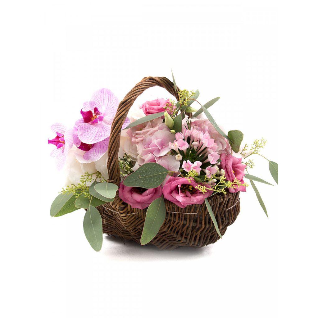 Mesaje de Florii, Coș elegant orhidee și lisianthus, doar 239,99 RON