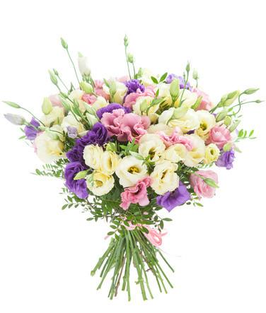 Buchet lisianthus alb, roz și mov, doar 218,99 RON